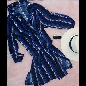 Roz & Ali blue striped duster kimono